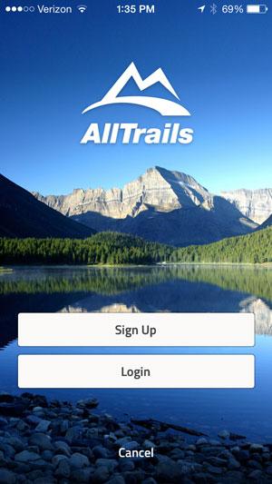 AllTrails Home Screen