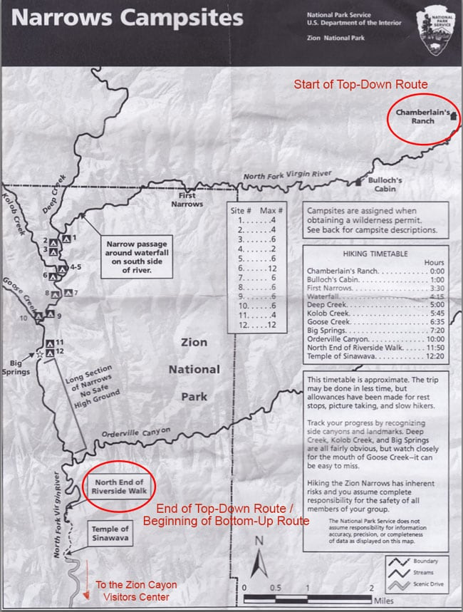 Zion Narrows Campsite Map