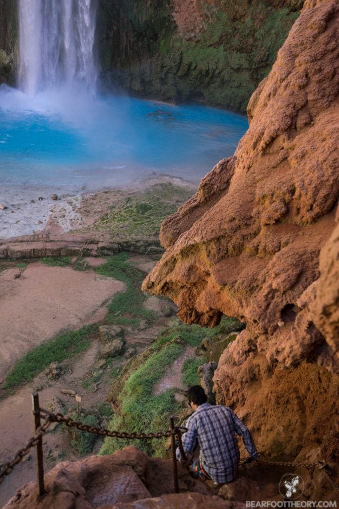 The trail down to Mooney Falls on the Havasupai Indian Reservation