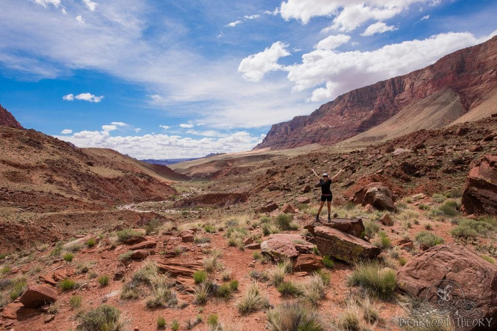 Hiking out of Paria Canyon after backpacking