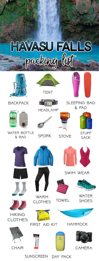 Havasu Falls Gear Packing List