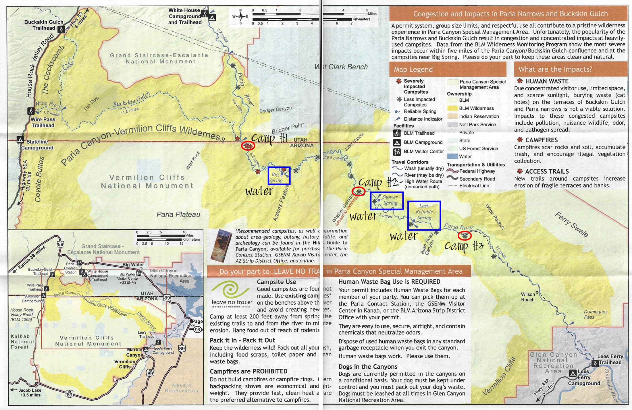 Paria Canyon Backpacking Guide Trail Map