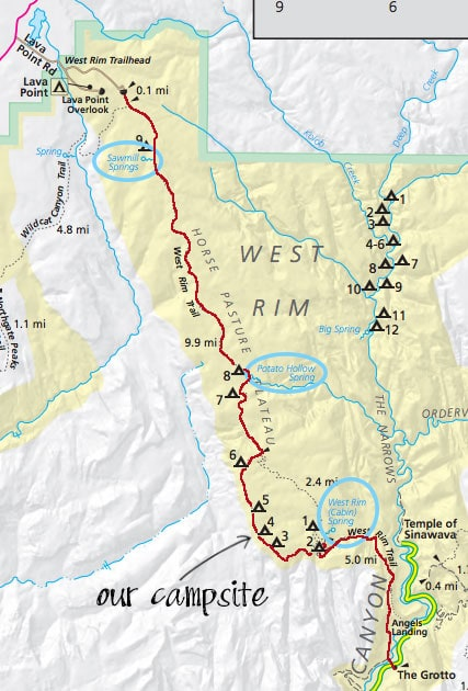 Zion National Park West Rim Trail Backpacking Guide Map