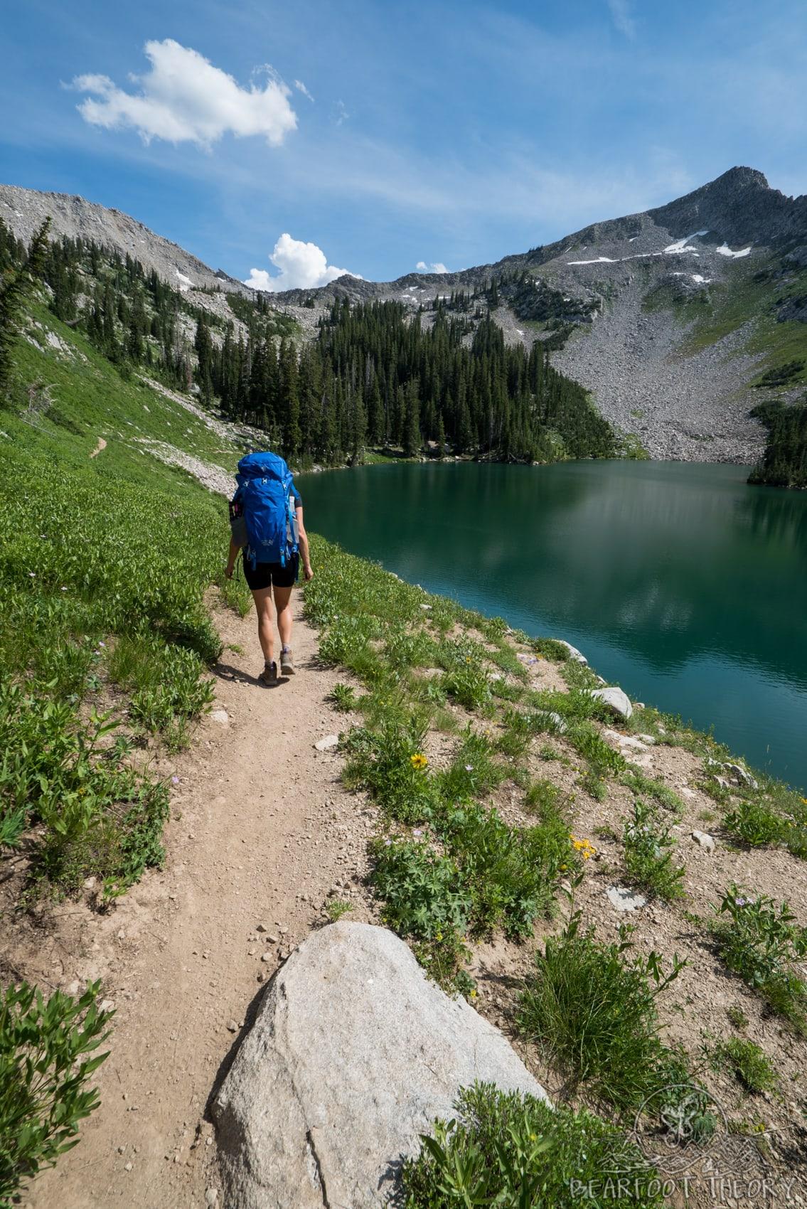Hiking past Red Pine Lake on the way to the Pfeifferhorn, the third tallest peak near Salt Lake City