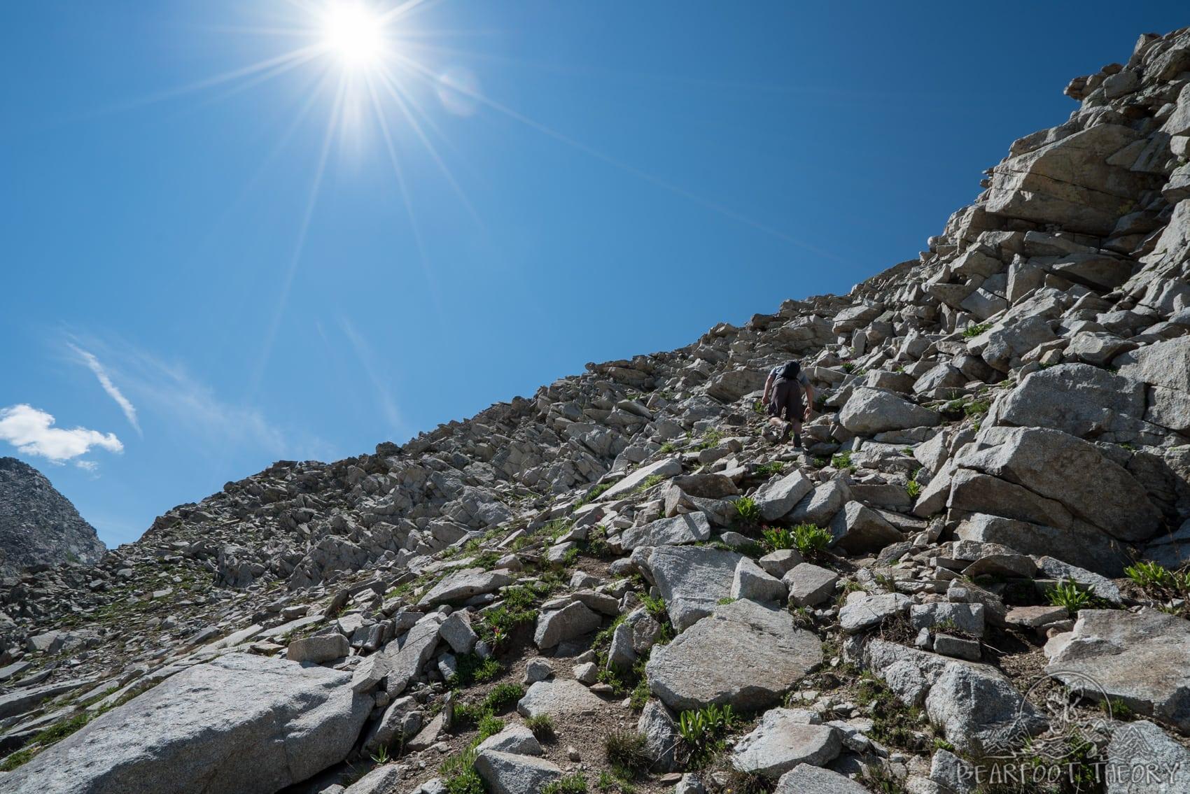 Hiking up to the Pfeifferhorn, the third tallest peak near Salt Lake City