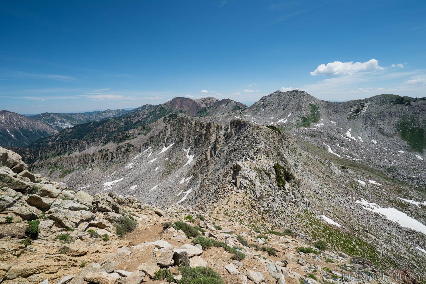 Looking down the ridgeline below the Pfeifferhorn, the third tallest peak near Salt Lake City