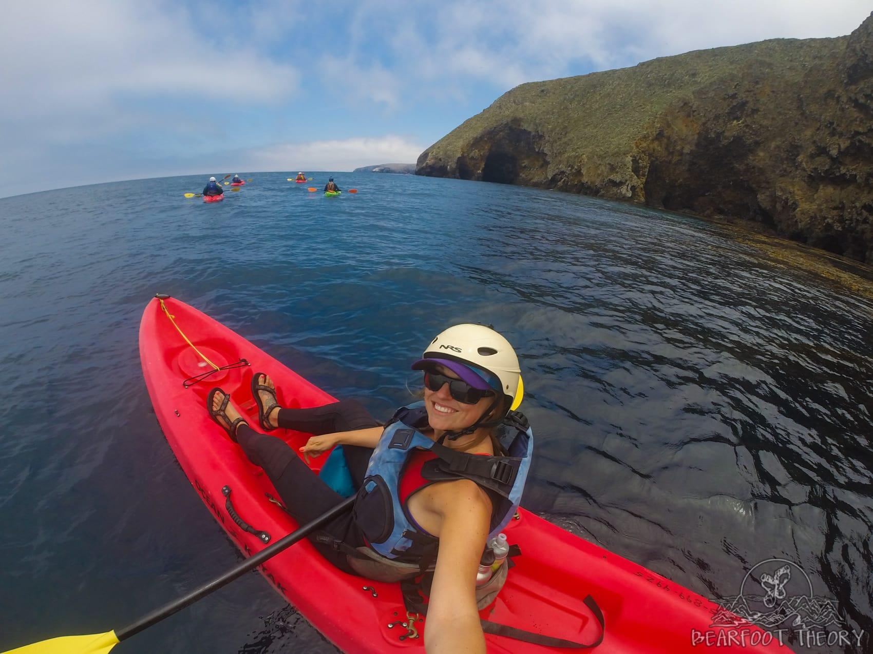 Kayaking the sea caves at Santa Cruz Island