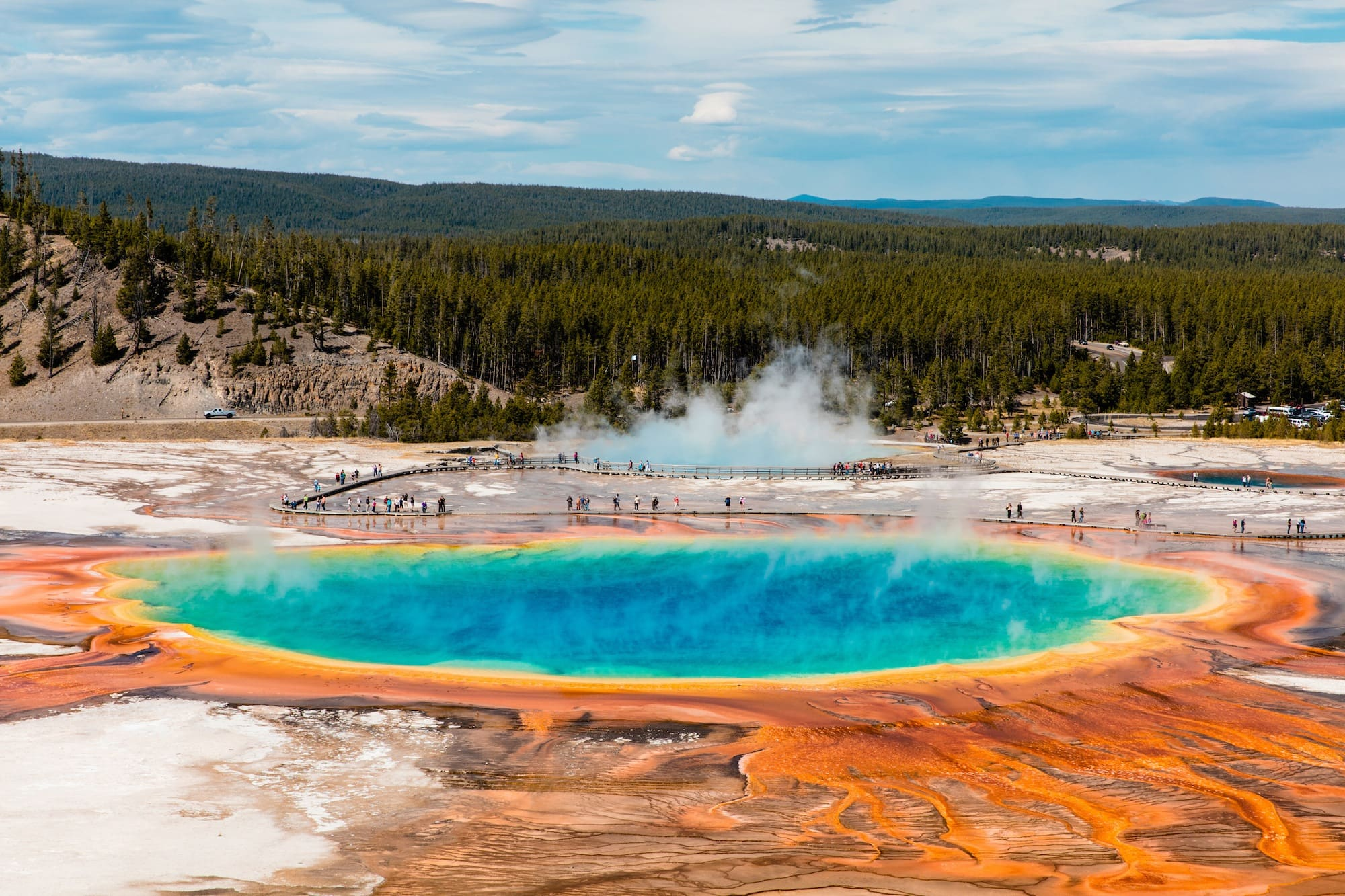 Grand Prismatic Spring // Follow this detailed 7-day Teton and Yellowstone road trip itinerary to travel to the best sites, hikes, and attractions in these two incredible national parks.