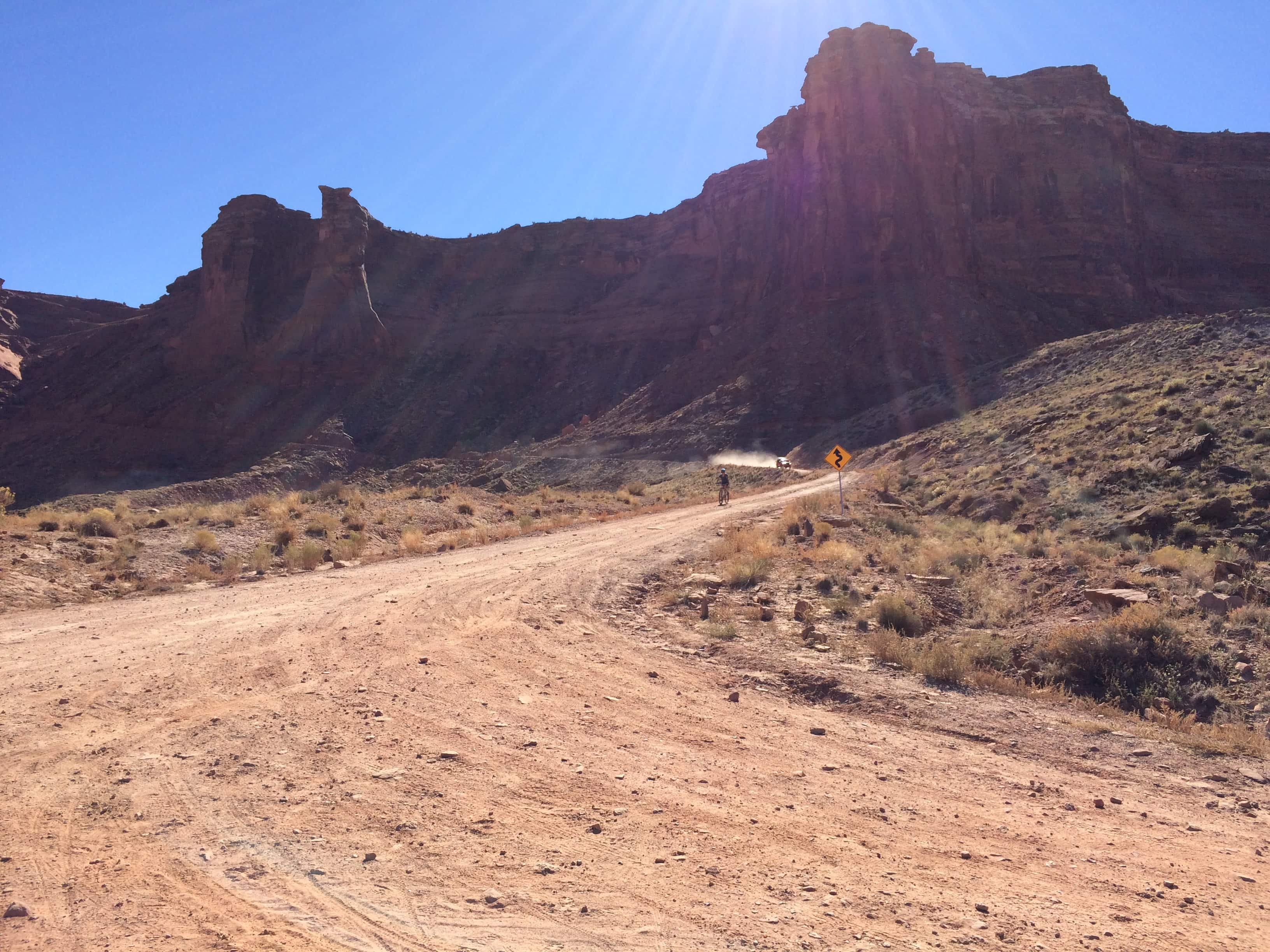 Biking down to Mineral Bottom on the White Rim Trail in Canyonlands National Park