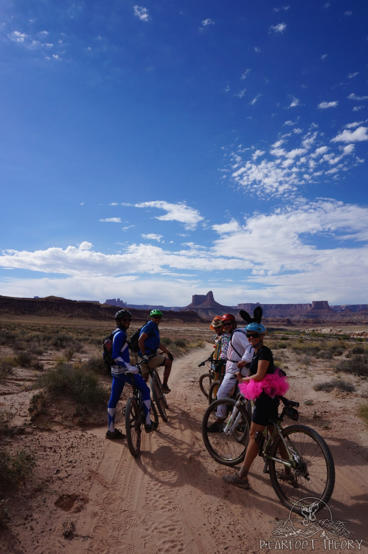 Biking the White Rim Trail in costume on Halloween