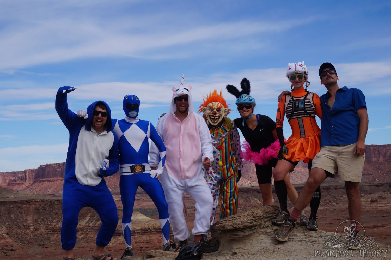 Biking the White Rim Trail in costume