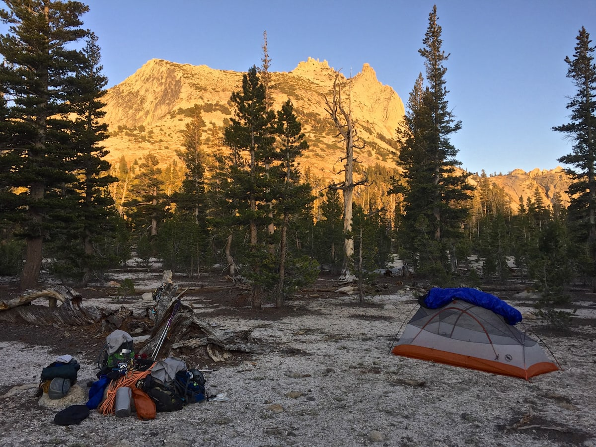 Leave No Trace sets guidelines for where to camp when there is no established campsite