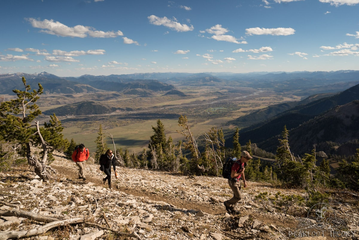Hiking near the top of the tram at Jackson Hole Ski Resort