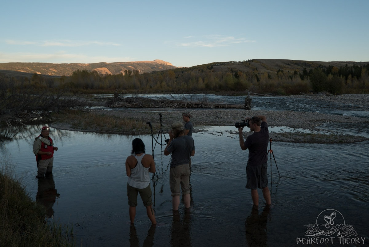 Learning lighting techniques at the Gros Ventre campground as part of the Summit Series Adventure Photography Course in Jackson, Wyoming