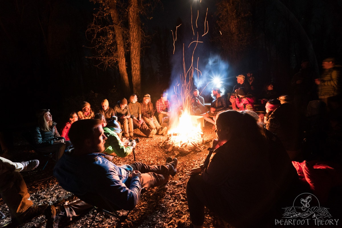 Fun group campout at Gros Ventre campground in Grand Teton National Park as part of the Summit Series Adventure Photography Course in Jackson, Wyoming