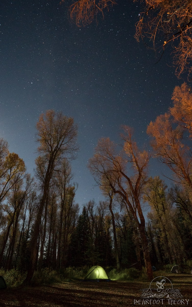 Learning how to take nighttime camping shots at Gros Ventre campground as part of the Summit Series Adventure Photography Course in Jackson, Wyoming