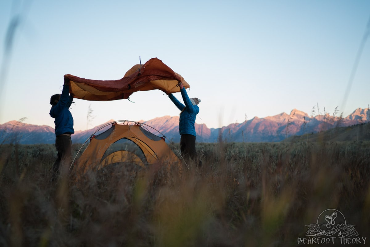 Setting up at camp at the Gros Ventre campground - Summit Series Adventure Photography Workshop in Jackson, Wyoming