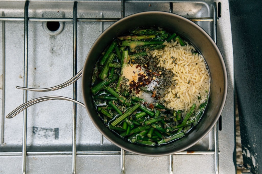One-pot camping meals: Cheesy Asparagus Orzo Recipe