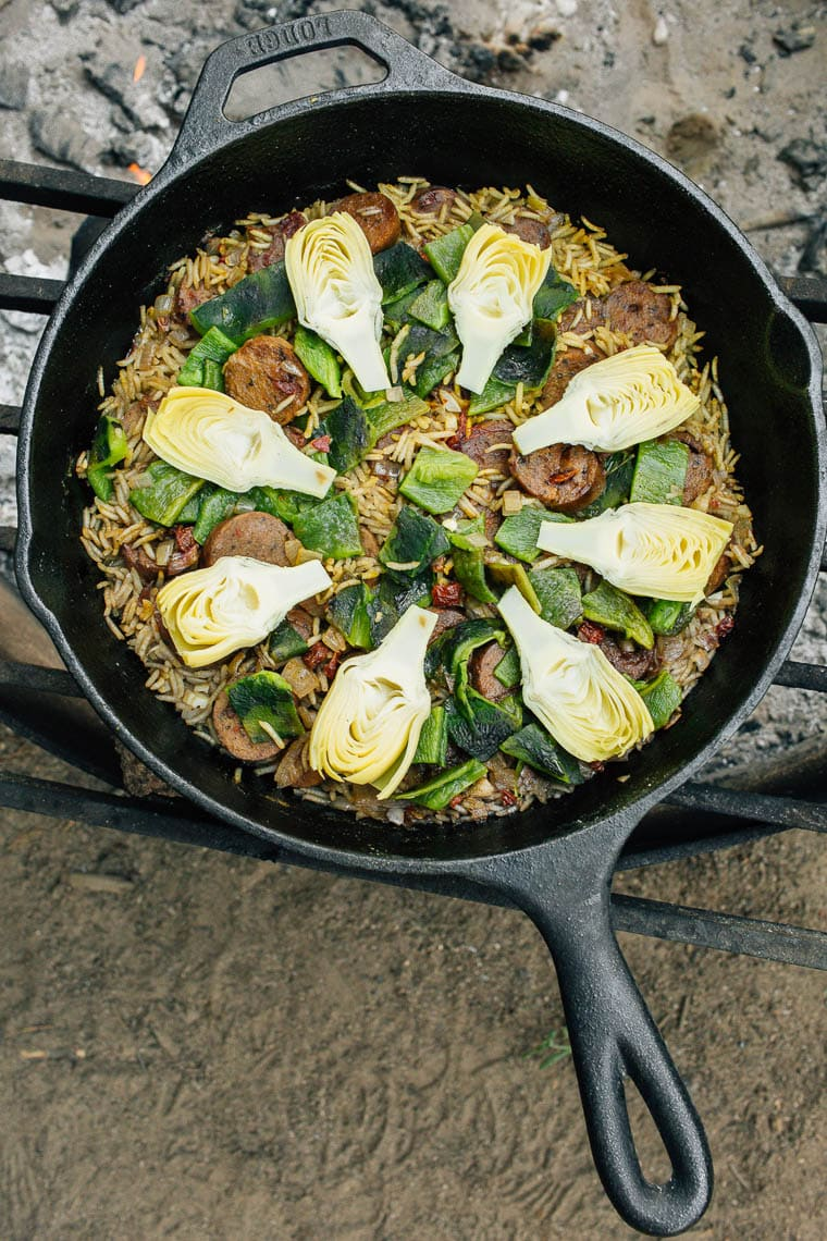 Camping One-Pot Meals: Artichoke & Poblano Campfire Paella