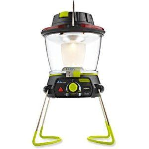 This Goal Zero lantern charges via solar panel or USB and lights up camp with it's dimming switch