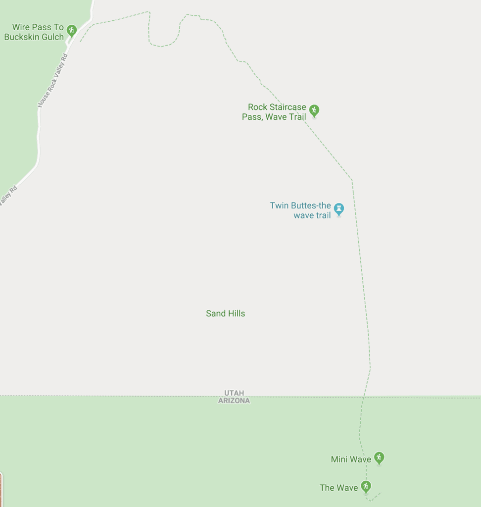 Map of The Wave hike in Arizona