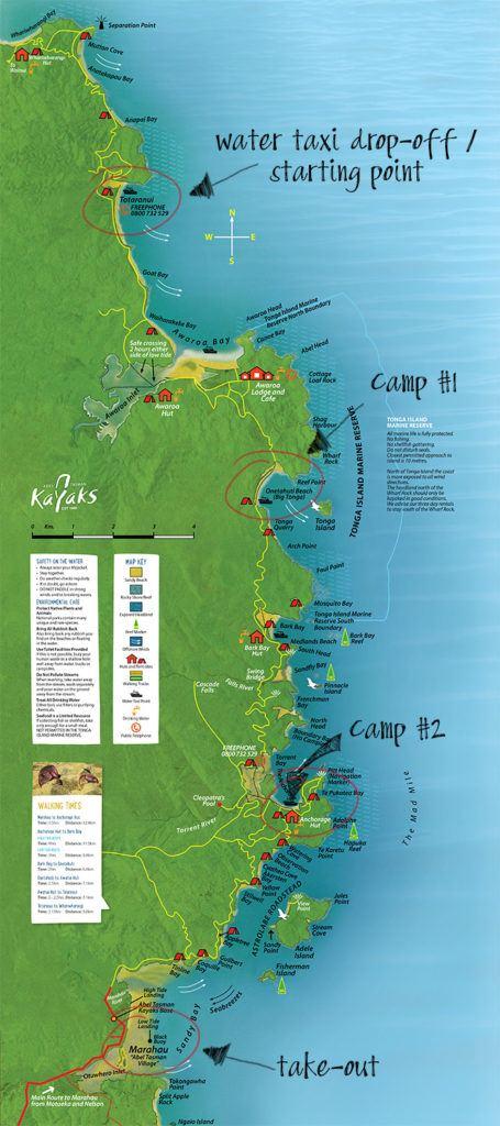 Abel Tasman Three Day Kayak Tour Map