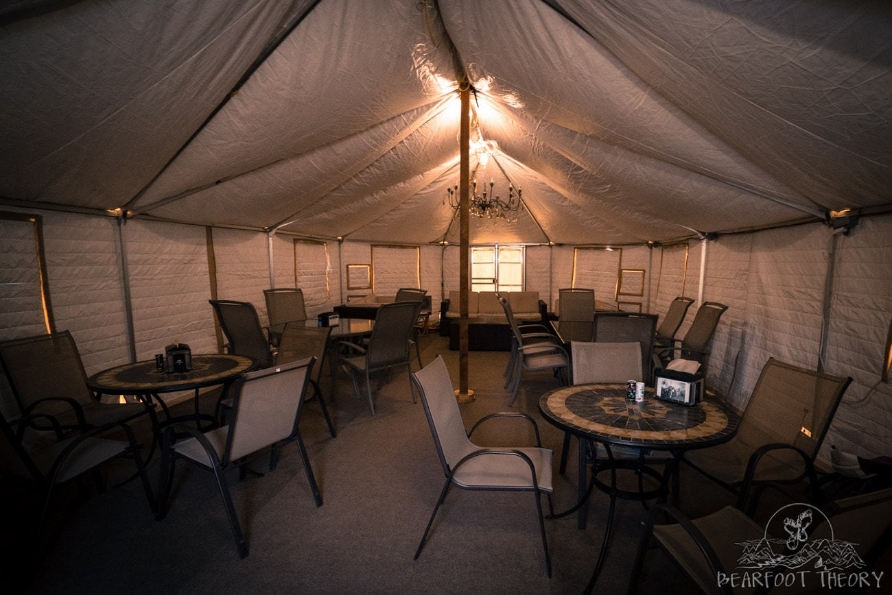 The heated dining yurt at The Springs in Idaho City