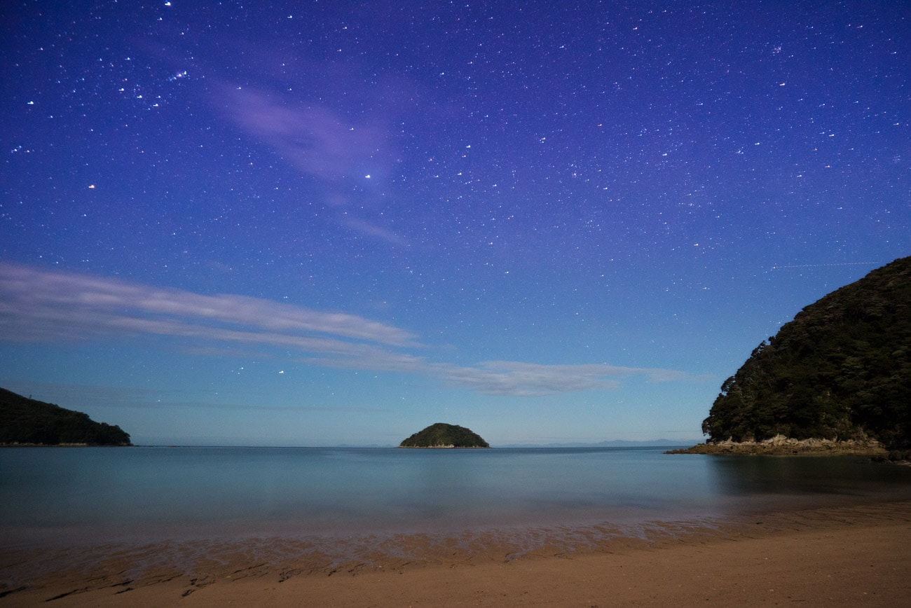 Night sky at Onetahuti Beach in Abel Tasman National Park