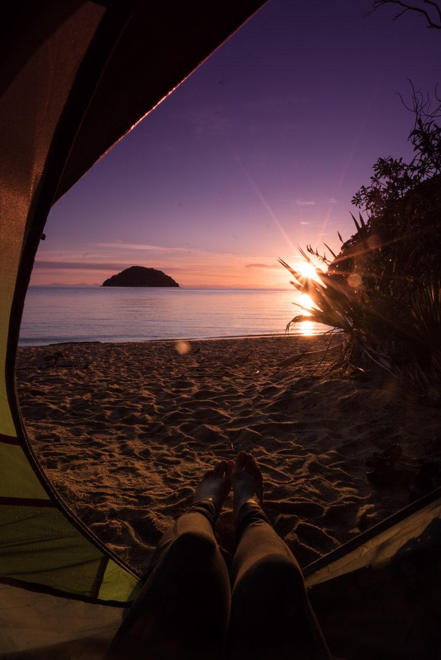 Camping on Onetahuti Beach in Abel Tasman National Park