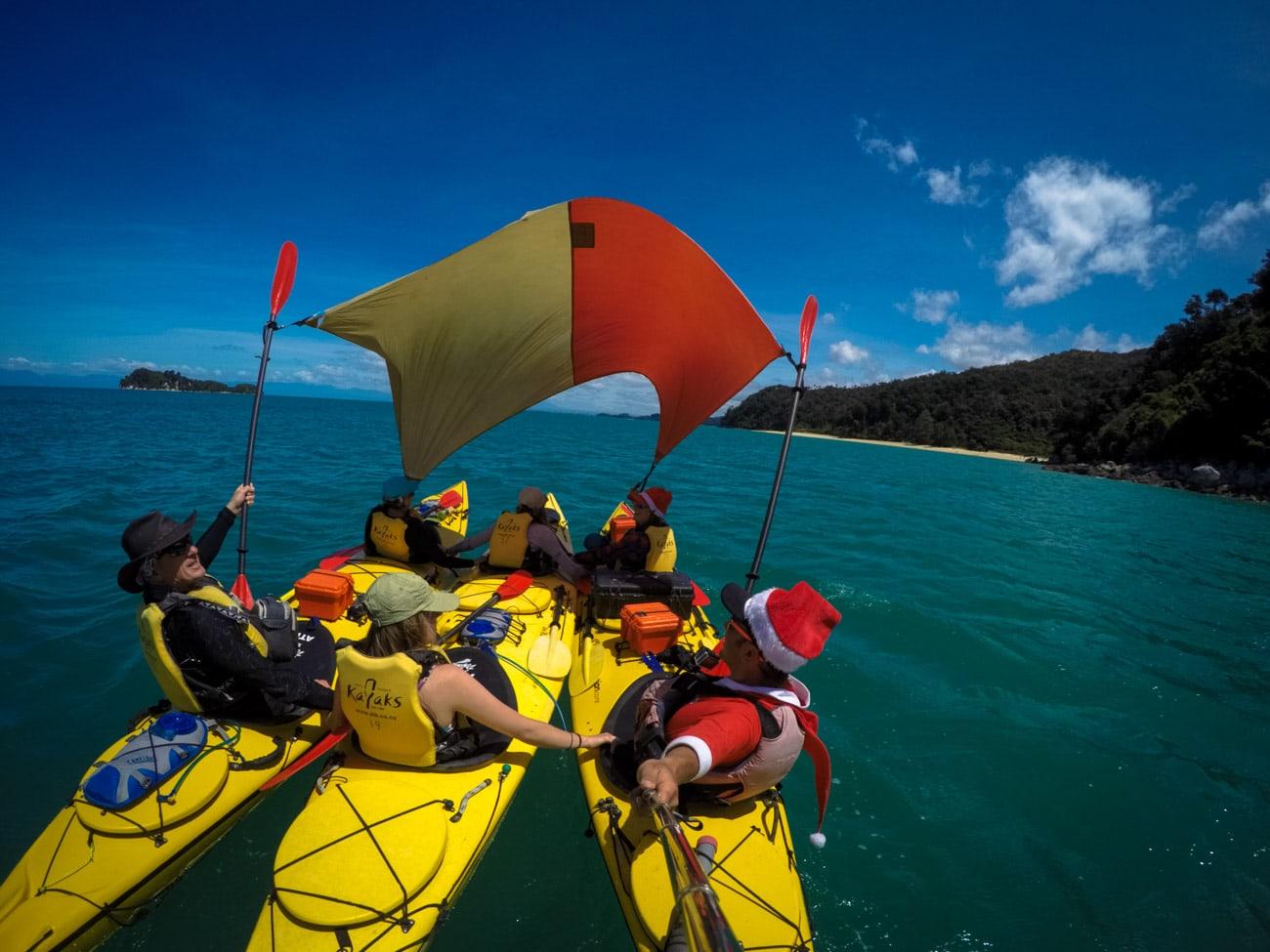 kayak-sailing in Abel Tasman National Park