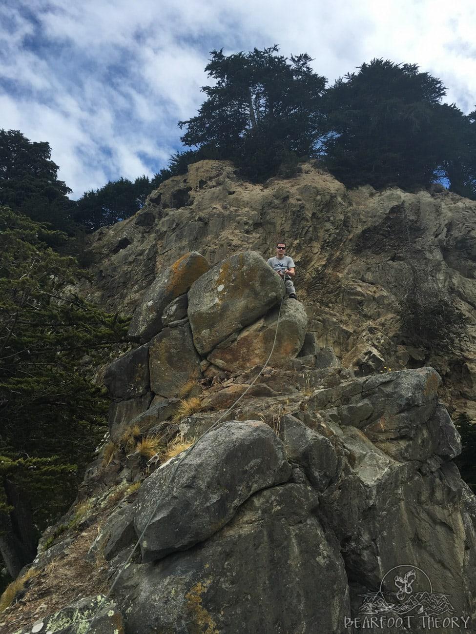 Climbing at Long Beach in Dunedin