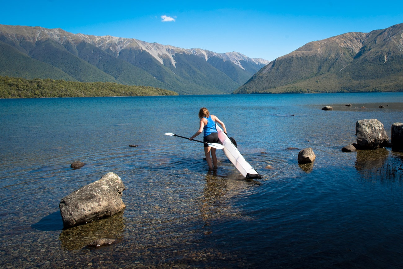 The Bay+ by Oru Kayak is a collapsible kayak that folds down into a box and can be thrown in the backseat of your car. Check out my full Oru Kayak Review and my timelapse video of how it works. This photo is from Lake Rotoiti in Nelson Lakes National Park