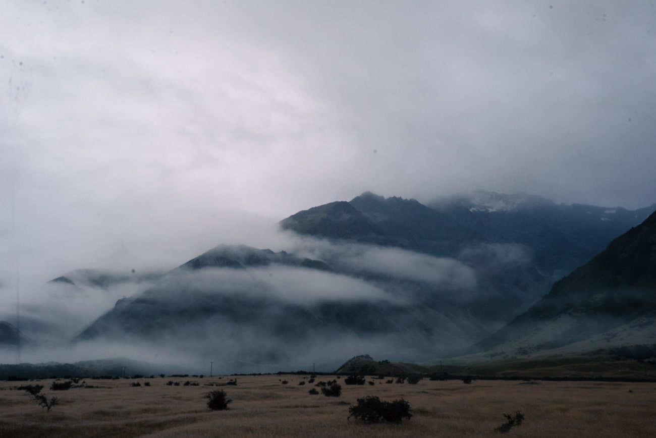 Mount Cook in the clouds