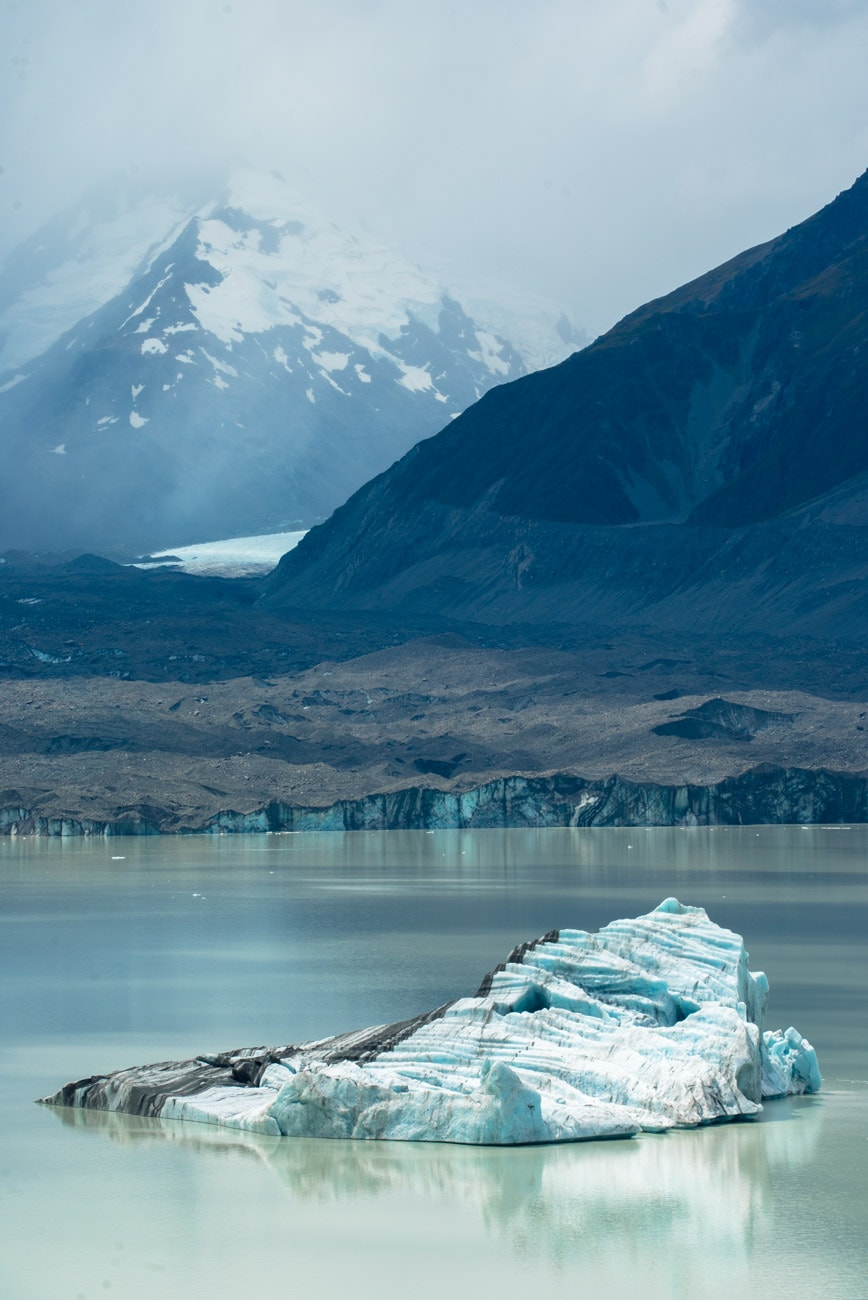 Icebergs on Tasman Lake in Mount Cook National Park