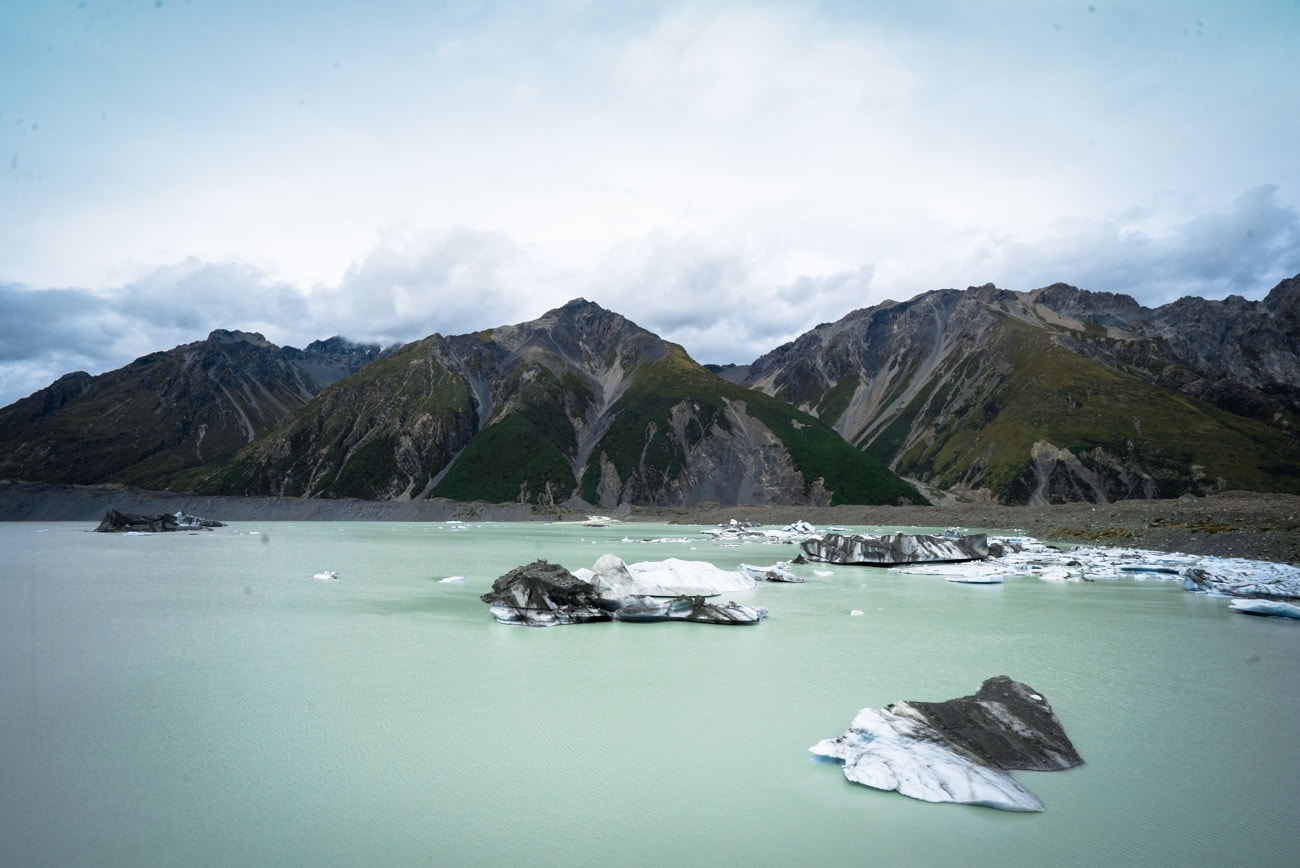 Icebergs on Tasman Lake in Mount Cook National Park
