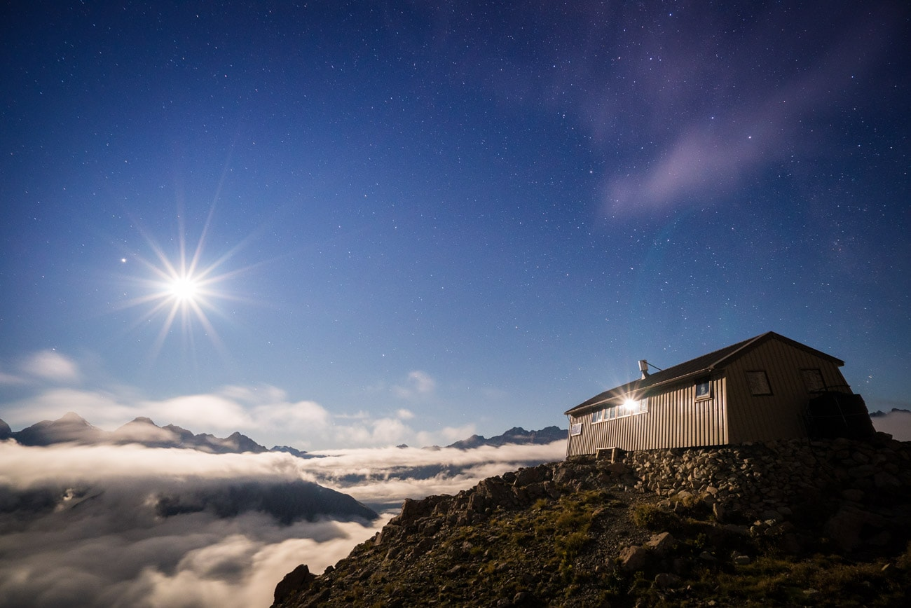 Alpine Recreation's Caroline Hut on Mount Cook - the base for their 4 day Intro to Mountaineering Course