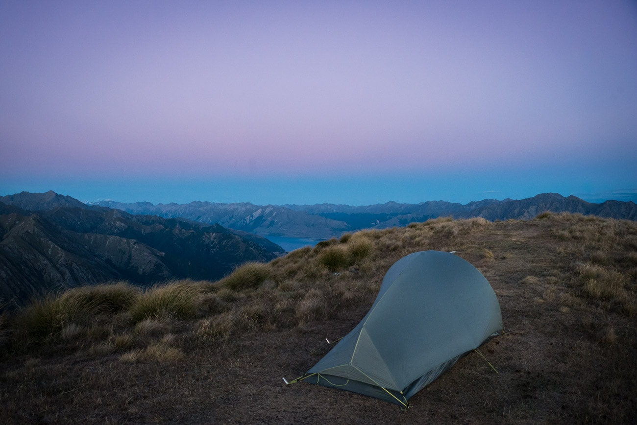 Camping on Isthmus Peak in Wanaka, New Zealand
