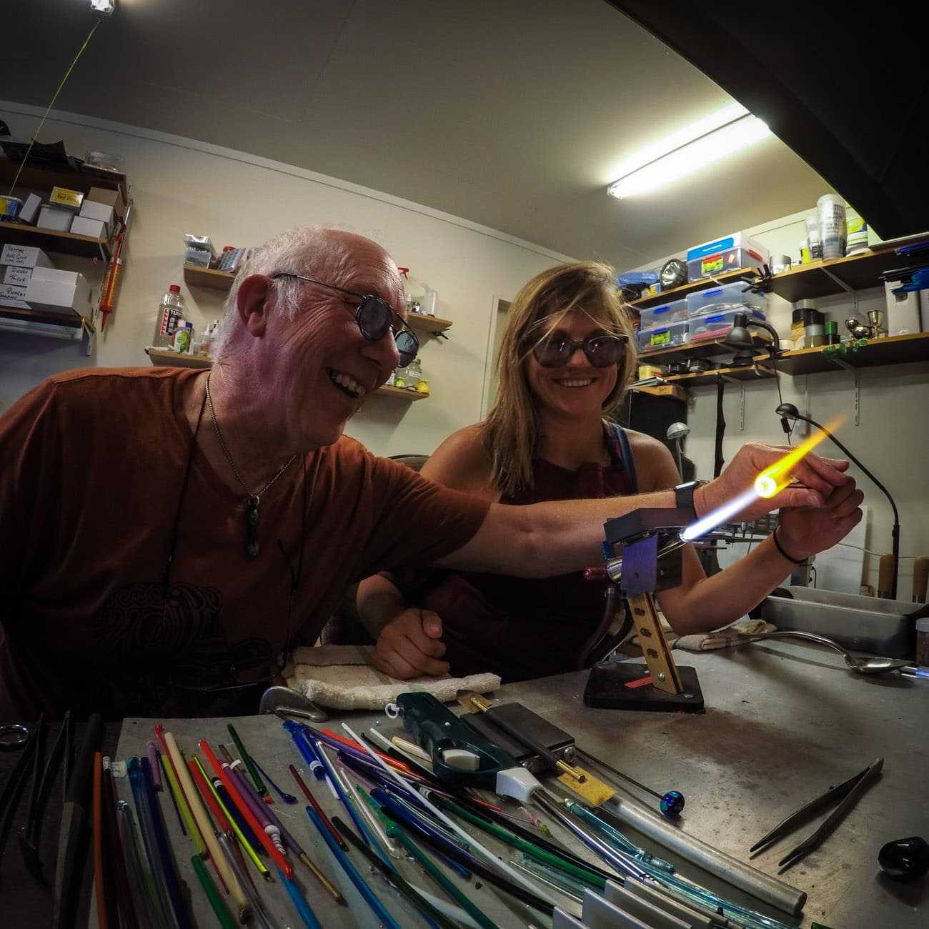 Glass making class with Queenstown Hot Glass