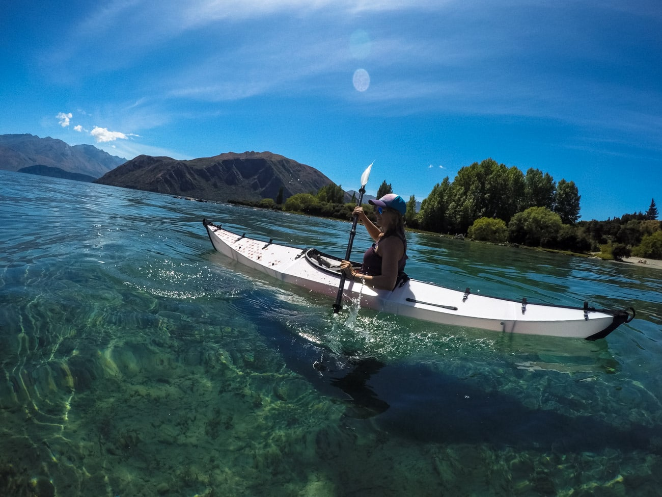 Paddling a portable Oru Kayak on Lake Wanaka in New Zealand