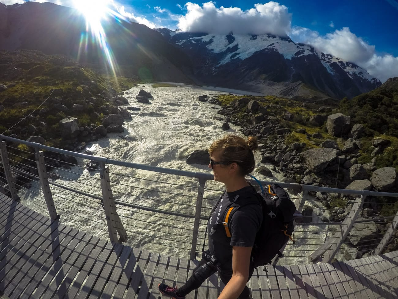 Hiking in the Hooker Valley of Mount Cook National Park in New Zealand