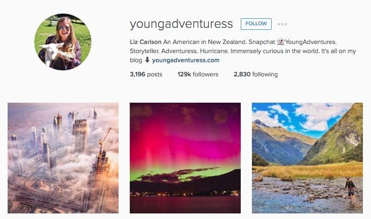 Top New Zealand Instagrammers: YoungAdventuress