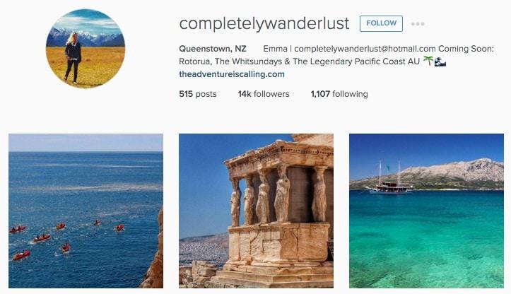Top New Zealand Instagrammers: @completelywanderlust