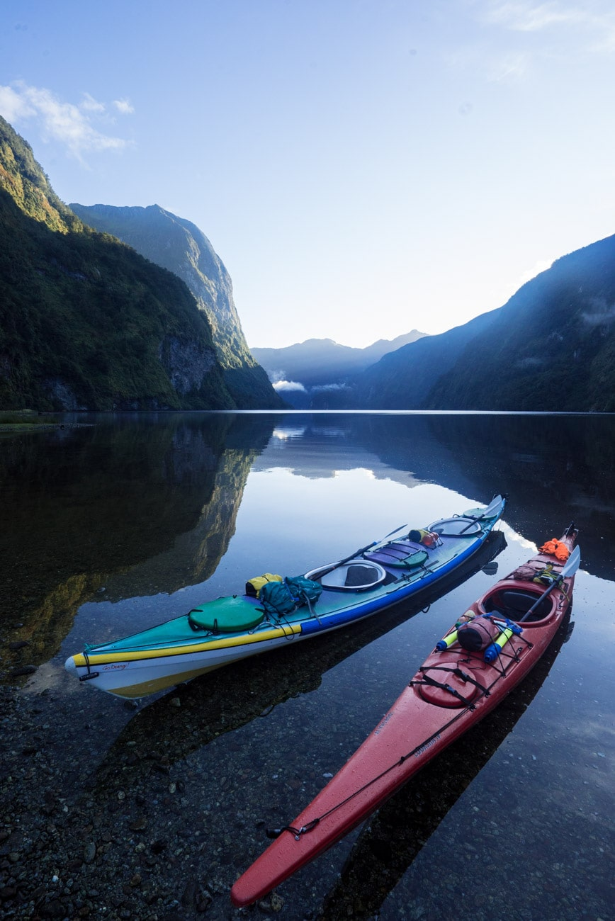 Our campsite on my Doubtful Sound overnight kayaking trip with Go Orange.