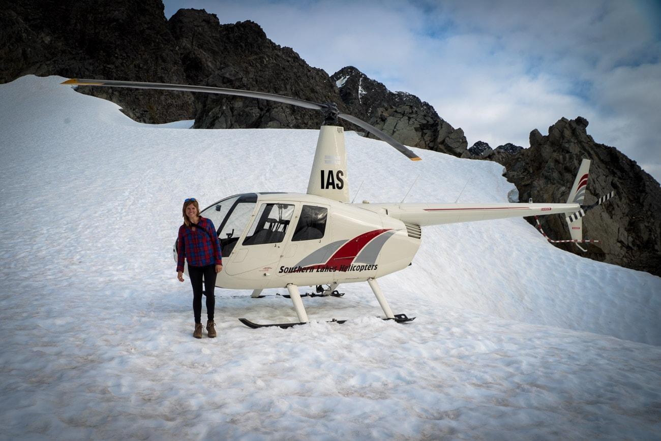 Landing on a glacier near Mount Skelmorlie in New Zealand's Fiordland National Park