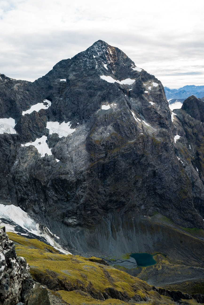 Flying above the peaks in Fiordland National Park, New Zealand