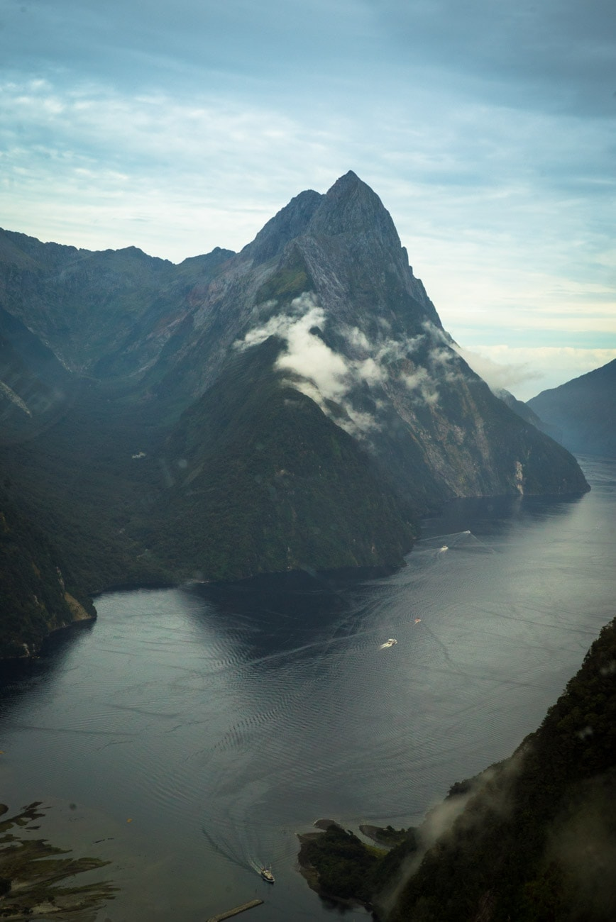 Flying above Mitre Peak, the most recognized peak in New Zealand's Milford Sound