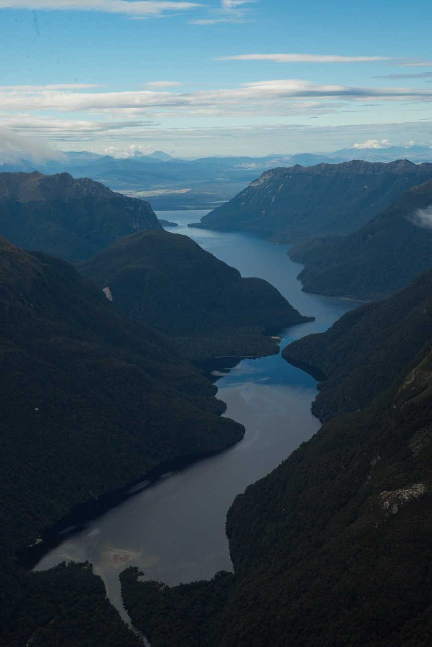 New Zealand's Lake Te Anau from a helicopter