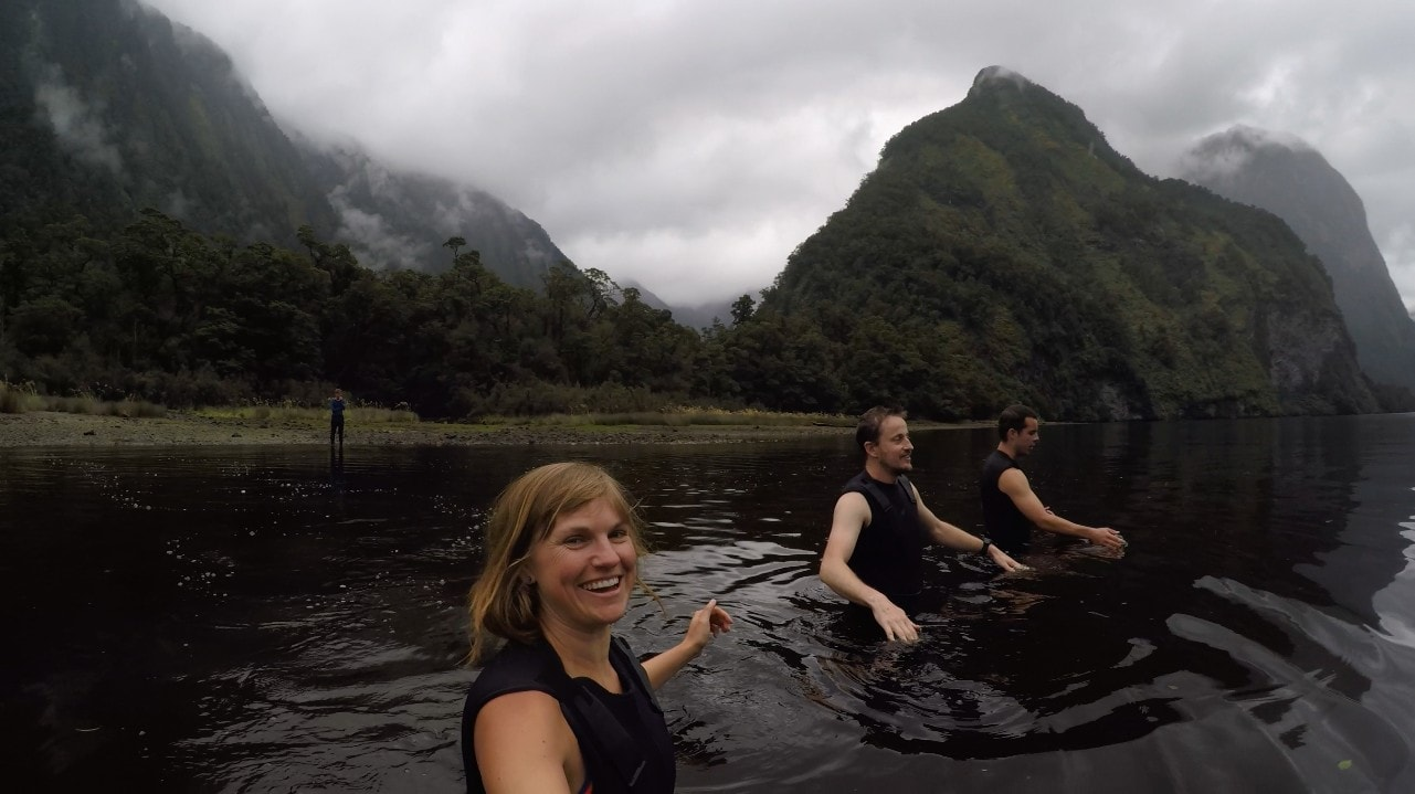 Taking a dip in New Zealand's Doubtful Sound