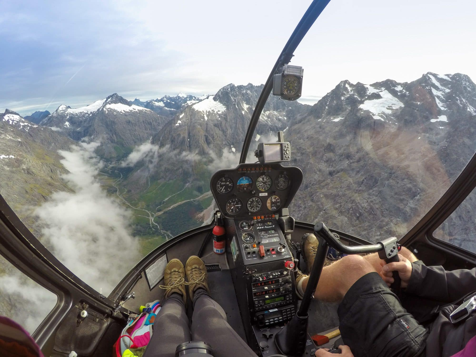 Milford Sound Helicopter Flight above New Zealand's Fiordland National Park