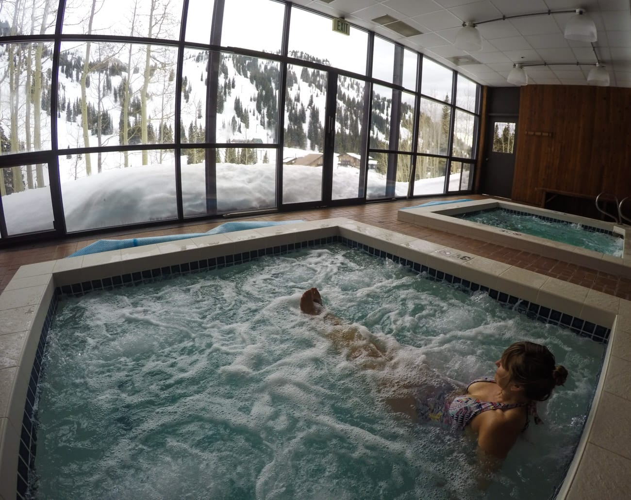 Amenities at the Alta Lodge include two indoor hot tubs